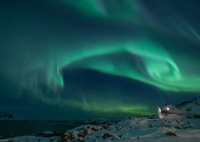 Nortern Lights at the road to Nyken